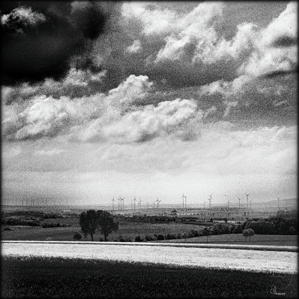 Windpark aus dem Zugfenster fotografiert